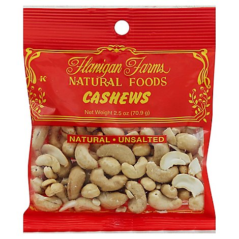 Flanigan Farms Cashews Natural Unsalted - 2.5 Oz