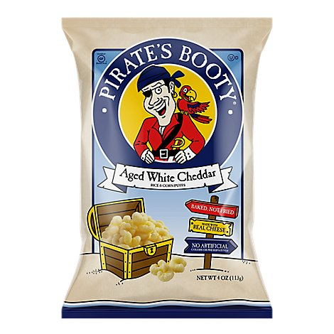 Pirates Booty Rice and Corn Puffs Baked Aged White Cheddar - 4 Oz