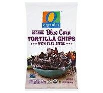 O Organics Organic Tortilla Chips Blue Corn with Flax Seed - 10 Oz