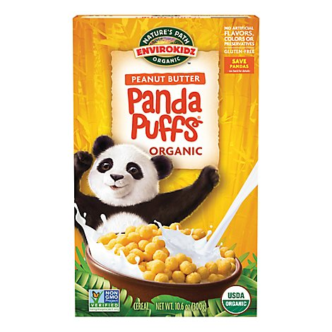 Natures Path EnviroKidz Organic Cereal Panda Puffs Peanut Butter - 10.6 Oz