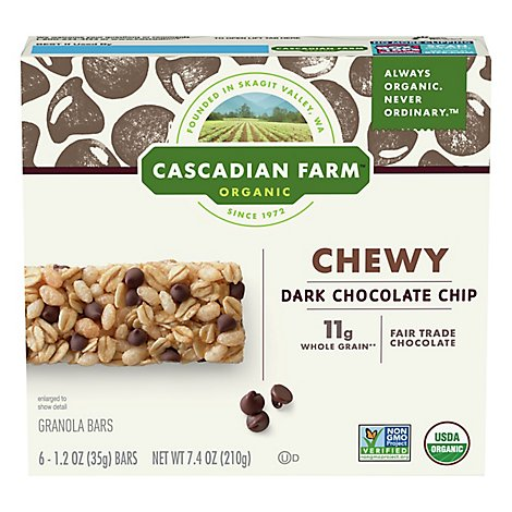 Cascadian Farm Organic Granola Bars Chewy Chocolate Chip - 6-1.2 Oz