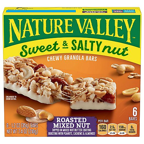 Nature Valley Granola Bars Sweet & Salty Nut Roasted Mixed Nut - 6-1.2 Oz