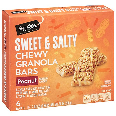 Signature SELECT Granola Bars Chewy Sweet N Salty Peanut - 6-1.23 Oz