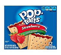 Pop-Tarts Toaster Pastries Unfrosted Strawberry 12 Count - 22 Oz