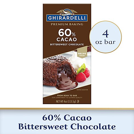 Ghirardelli Chocolate Baking Bar Premium Bittersweet Chocolate 60% Cacao - 4 Oz