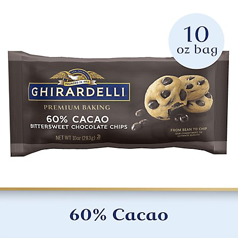 Ghirardelli Chocolate Baking Chips Premium Bittersweet Chocolate 60% Cacao - 10 Oz