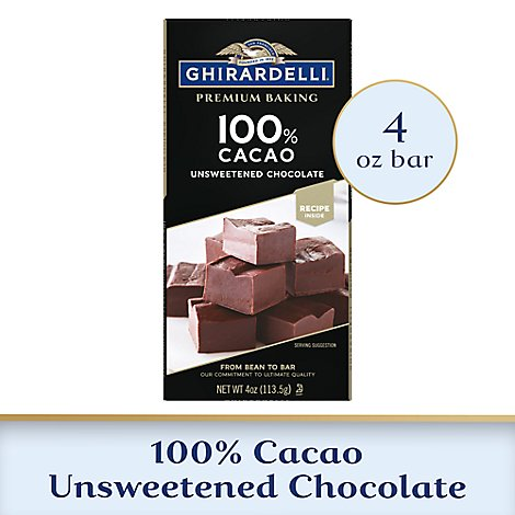 Ghirardelli Chocolate Baking Bar Premium Unsweetened Chocolate 100% Cacao - 4 Oz