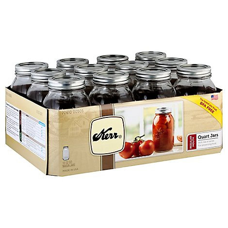 Kerr Quart Jars Regular - 12 Count