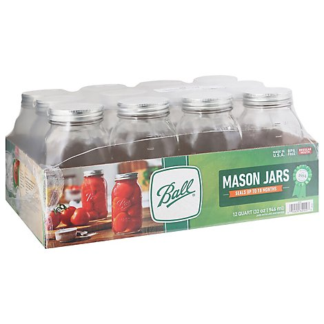 Ball Mason Jars Quart Regular Mouth - 12 Count