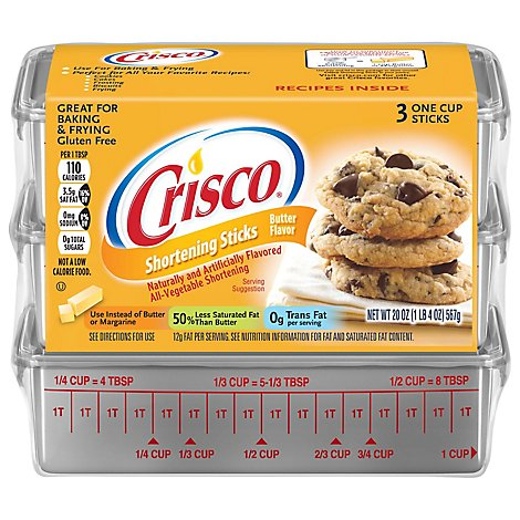 Crisco Baking Sticks All-Vegetable Shortening Butter Flavor - 20 Oz