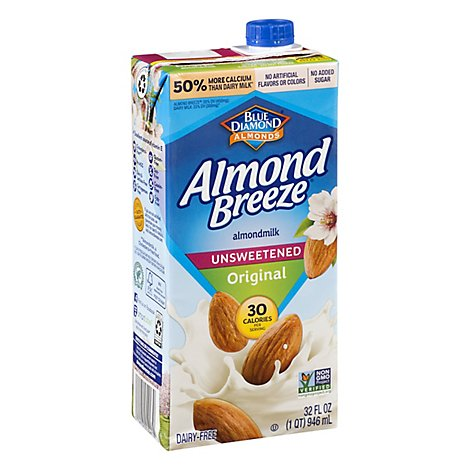Blue Diamond Almond Breeze Almondmilk Unsweetened Original - 32 Fl. Oz.