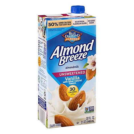 Blue Diamond Almond Breeze Almondmilk Unsweetened Vanilla - 32 Fl. Oz.