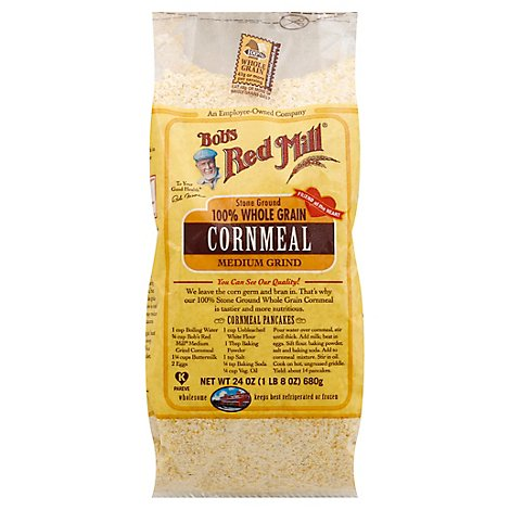 Bobs Red Mill Cornmeal 100% Whole Grain Stone Ground Medium Grind - 24 Oz