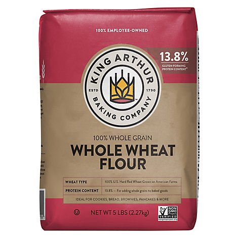 King Arthur Flour Flour Whole Wheat 100% Whole Grain - 5 Lb
