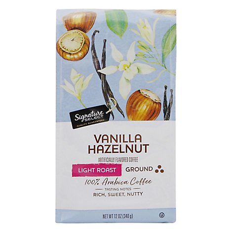 Signature SELECT Coffee Ground Light Roast Vanilla Hazelnut - 12 Oz