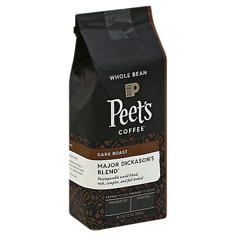 Peets Coffee Coffee Whole Bean Deep Roast Major Dickasons Blend - 12 Oz