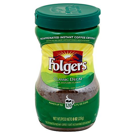 Folgers Coffee Instant Classic Crystals Decaf - 8 Oz