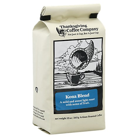 Thanksgiving Coffee Coffee Dark Roast Kona Blend - 12 Oz