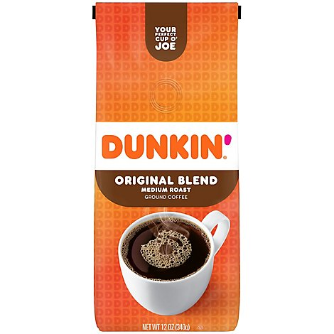 Dunkin Donuts Coffee Ground Medium Roast Original Blend - 12 Oz