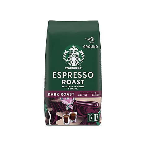 Starbucks Coffee Ground Dark Roast Espresso Roast Bag - 12 Oz