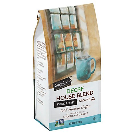 Signature SELECT Coffee Ground Medium Roast House Blend Decaf - 12 Oz