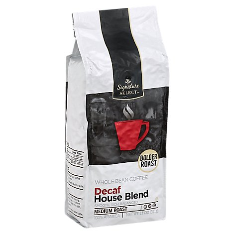 Signature SELECT Coffee Whole Bean Arabica Medium Roast House Blend Decaf - 11 Oz