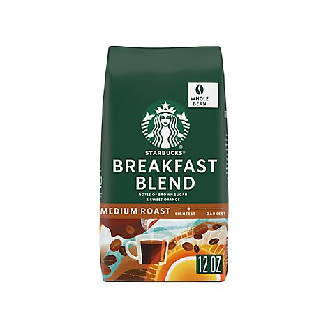 Starbucks Coffee Whole Bean Medium Roast Breakfast Blend Bag - 12 Oz