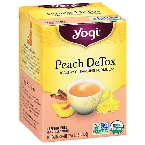 Yogi Herbal Supplement Tea Peach DeTox 16 Count - 1.12 Oz