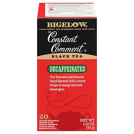 Bigelow Black Tea Bags Constant Comment Decaffeinated 20 Count - 1.18 Oz