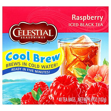 Celestial Seasonings Black Tea Iced Cool Brew Raspberry - 40 Count