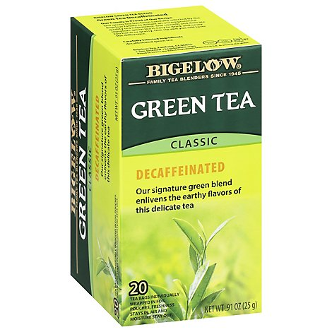 Bigelow Green Tea Bags Classic Decaffeinated 20 Count - 0.91 Oz