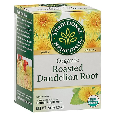 Traditional Medicinals Herbal Tea Organic Roasted Dandelion Root - 16 Count