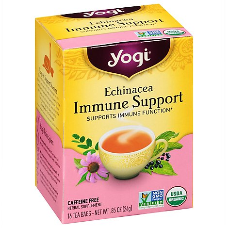 Yogi Herbal Supplement Tea Echinacea Immune Support 16 Count - 0.85 Oz