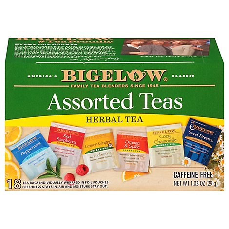 Bigelow Tea Bags Assorted Herb Six Variety Pack 18 Count - 1.03 Oz