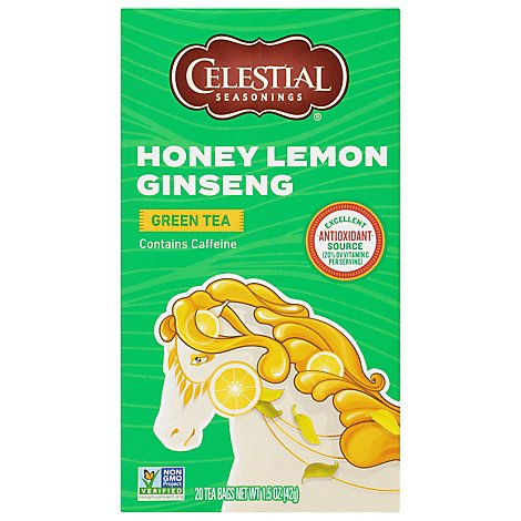 Celestial Seasonings Green Tea Bags with White Tea Honey Lemon Ginseng 20 Count - 1.5 Oz
