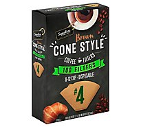 Signature SELECT Coffee Filters Cone Style No. 4 Brown 8-12 Cup - 100 Count