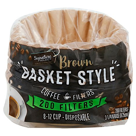 Signature SELECT/Kitchens Coffee Filters Basket Style Brown 8-12 Cup - 200 Count