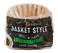 Signature SELECT Coffee Filters Basket Style Brown 8-12 Cup - 200 Count
