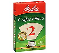 Melitta Coffee Filters Cone Natural Brown No. 2 - 40 Count