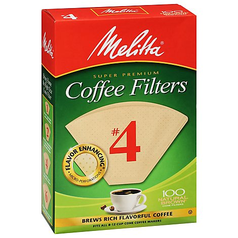 Melitta Coffee Filters Cone Natural Brown No. 4 Box - 100 Count