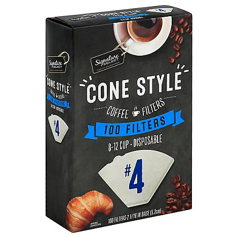 Signature SELECT Coffee Filters Cone Style No. 4 8-12 Cup - 100 Count