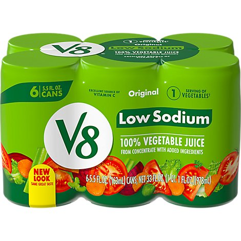 V8 Vegetable Juice Low Sodium Original - 6-5.5 Fl. Oz.