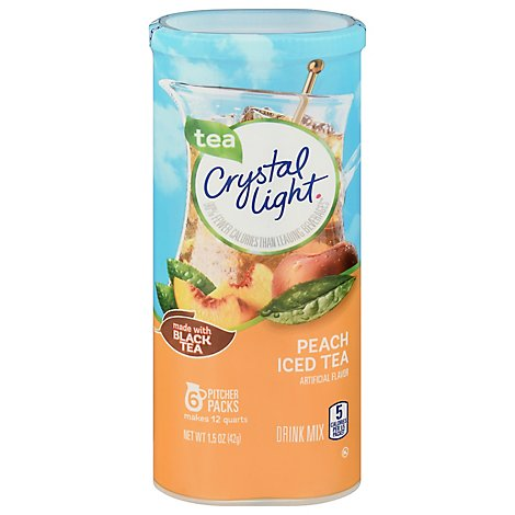 Crystal Light Drink Mix Pitcher Packs Iced Tea Peach Tub 6 Count - 1.5 Oz