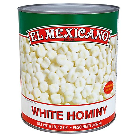 El Mexicano Hominy White Can - 108 Oz