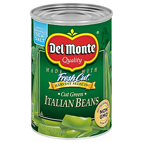 Del Monte Harvest Selects Beans Italian Cut with Natural Sea Salt - 14.5 Oz