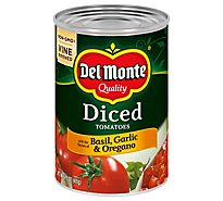 Del Monte Tomatoes Diced Basil Garlic & Oregano - 14.5 Oz