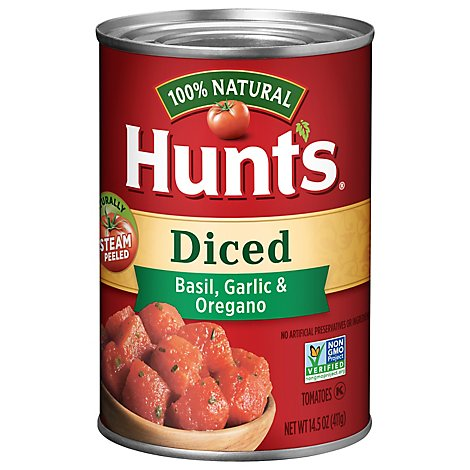 Hunts Tomatoes Diced Basil Garlic & Oregano - 14.5 Oz