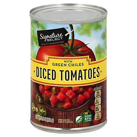 Signature SELECT Tomatoes Diced Petite With Green Chilies - 14.5 Oz