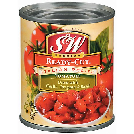 S&W Tomatoes Diced Premium Ready-Cut Italian Recipe - 28 Oz