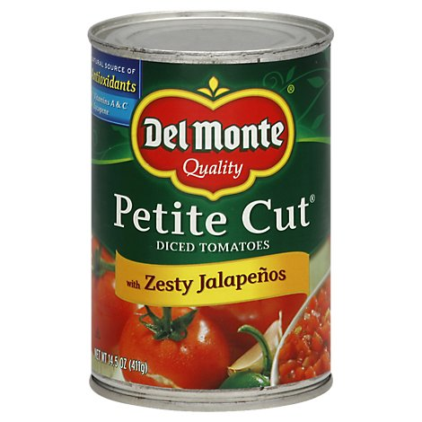 Del Monte Tomatoes Diced Petite Cut with Zesty Jalapenos - 14.5 Oz